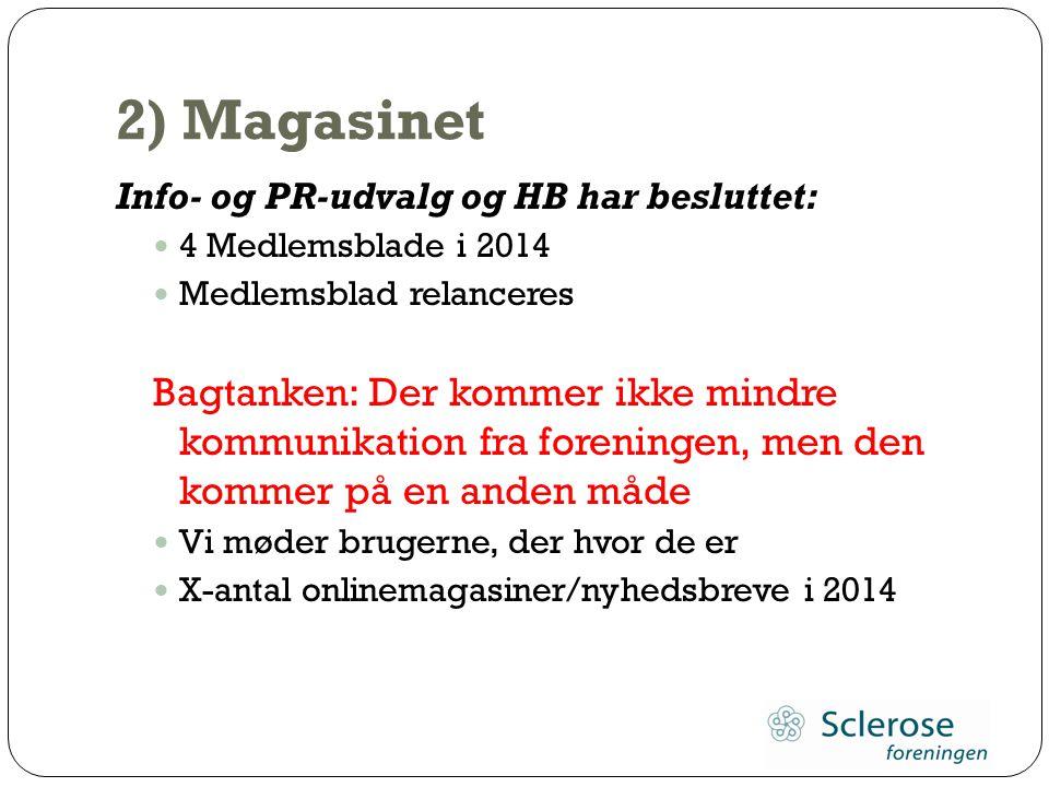 2) Magasinet Info- og PR-udvalg og HB har besluttet: 4 Medlemsblade i 2014. Medlemsblad relanceres.