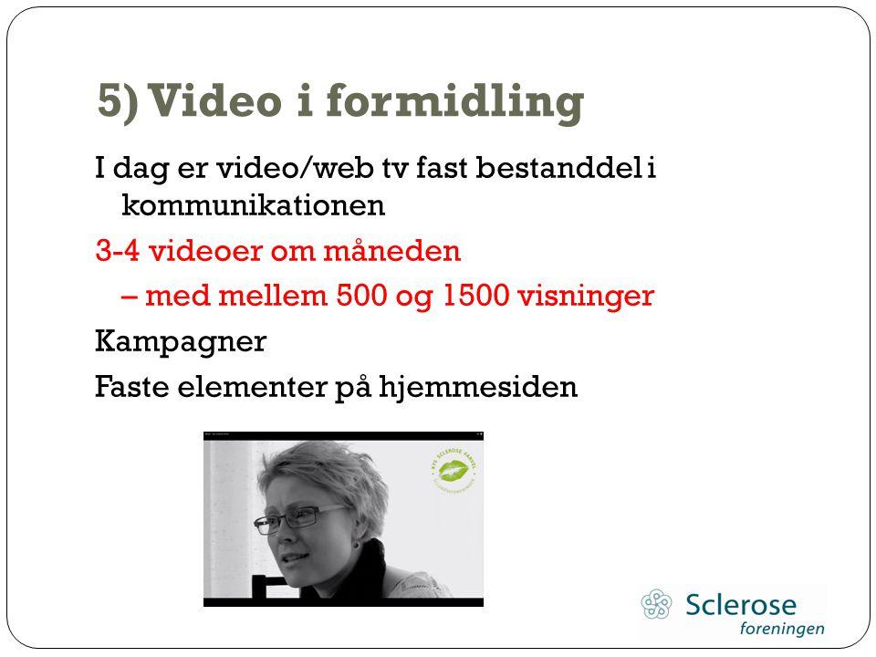 5) Video i formidling I dag er video/web tv fast bestanddel i kommunikationen. 3-4 videoer om måneden.