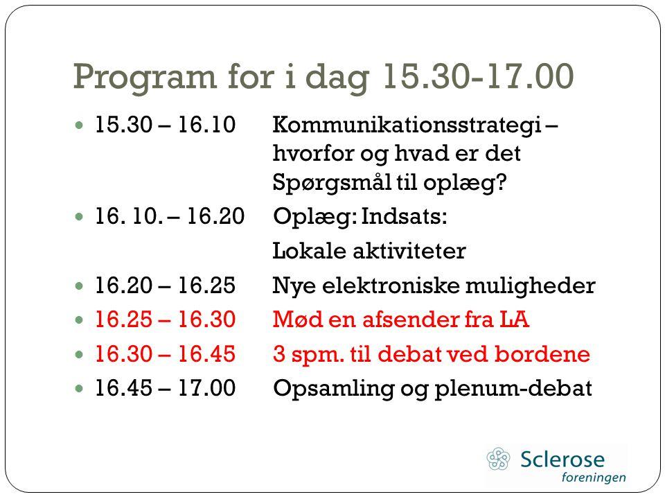 Program for i dag 15.30-17.00 15.30 – 16.10 Kommunikationsstrategi – hvorfor og hvad er det Spørgsmål til oplæg