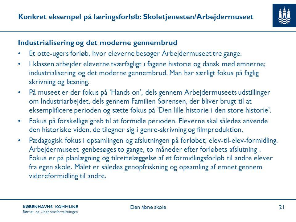 Konkret eksempel på læringsforløb: Skoletjenesten/Arbejdermuseet