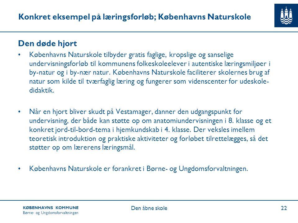 Konkret eksempel på læringsforløb; Københavns Naturskole