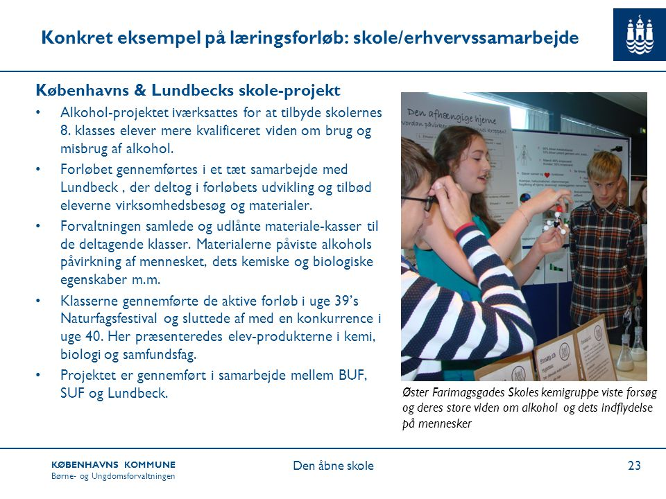 Konkret eksempel på læringsforløb: skole/erhvervssamarbejde