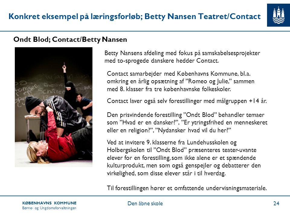 Konkret eksempel på læringsforløb; Betty Nansen Teatret/Contact