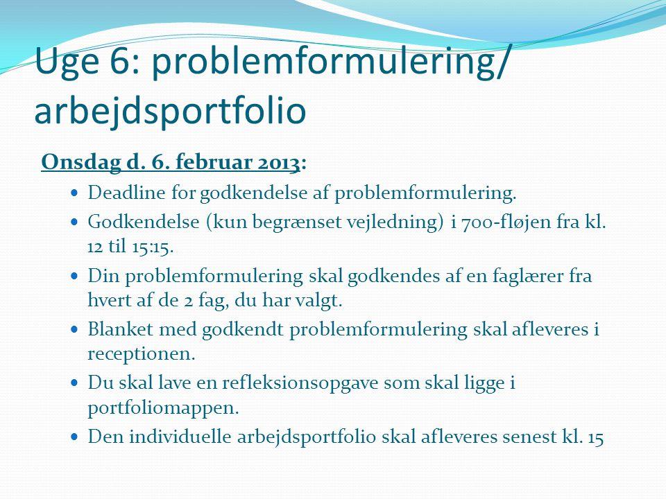 Uge 6: problemformulering/ arbejdsportfolio