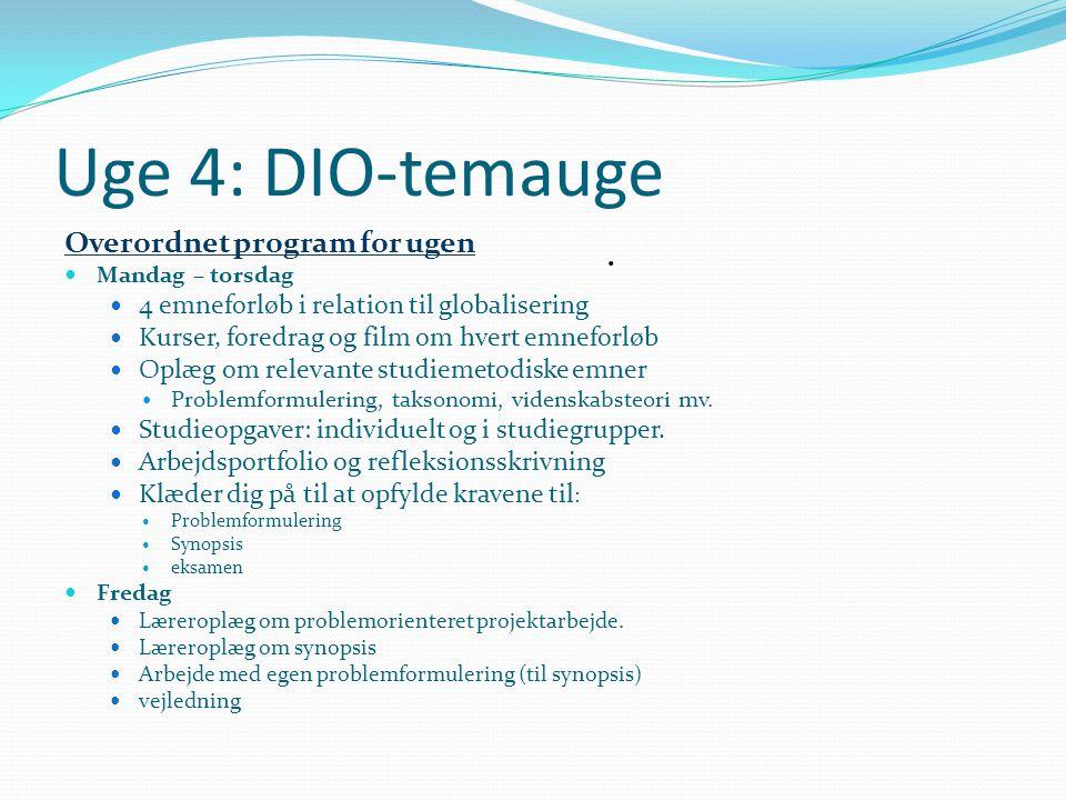 Uge 4: DIO-temauge . Overordnet program for ugen