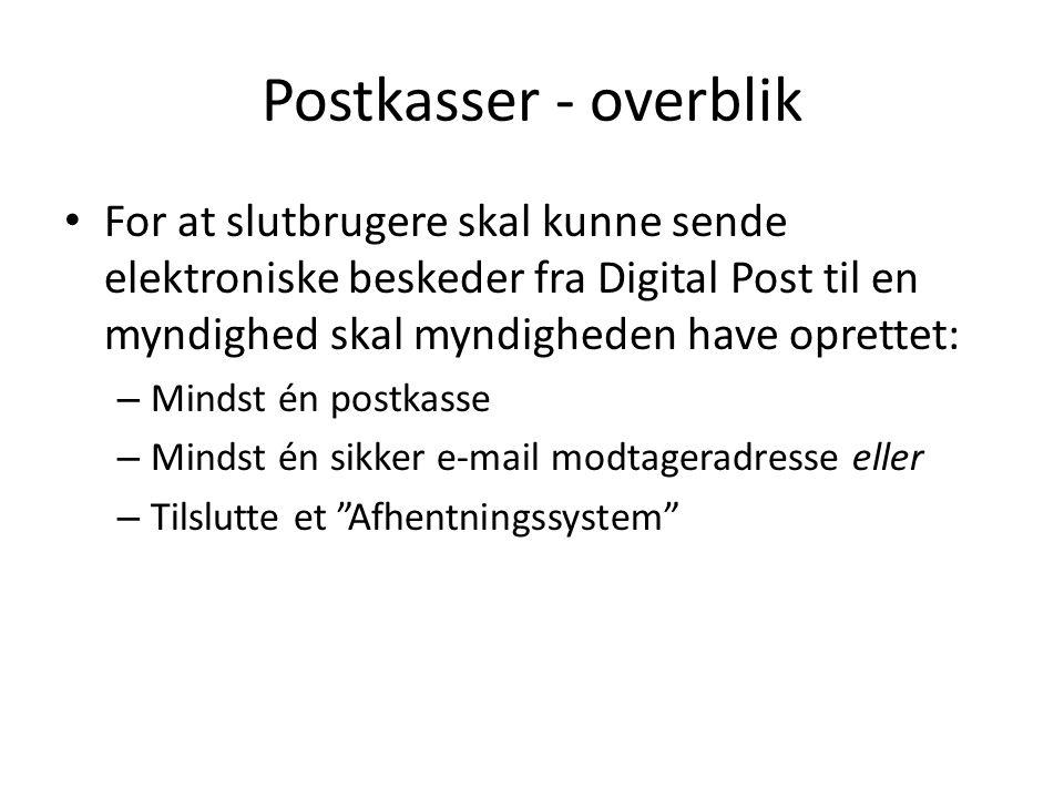 Postkasser - overblik For at slutbrugere skal kunne sende elektroniske beskeder fra Digital Post til en myndighed skal myndigheden have oprettet: