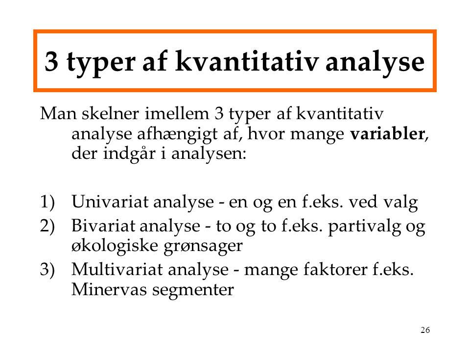 3 typer af kvantitativ analyse