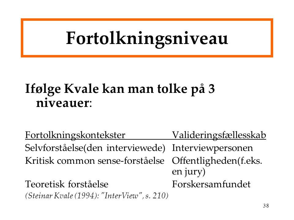 Fortolkningsniveau Ifølge Kvale kan man tolke på 3 niveauer: