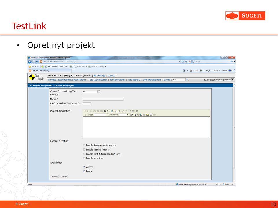 TestLink Opret nyt projekt