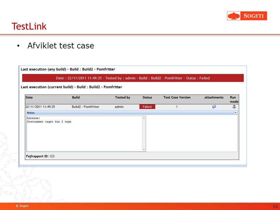 TestLink Afviklet test case