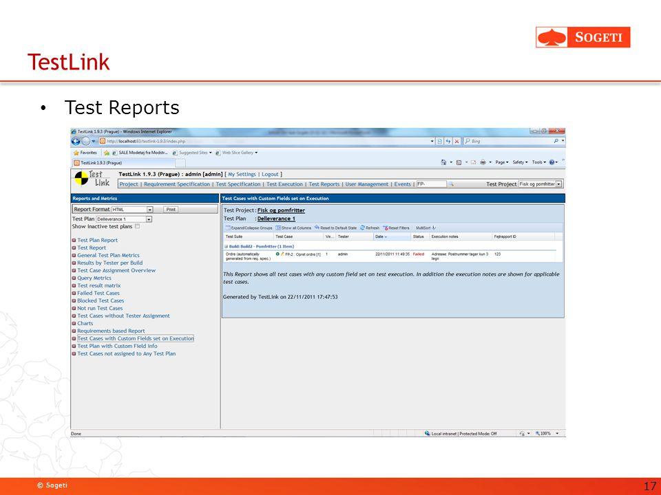 TestLink Test Reports. TestLink stiller en del brugbare prædefinerede rapporter til rådighed.