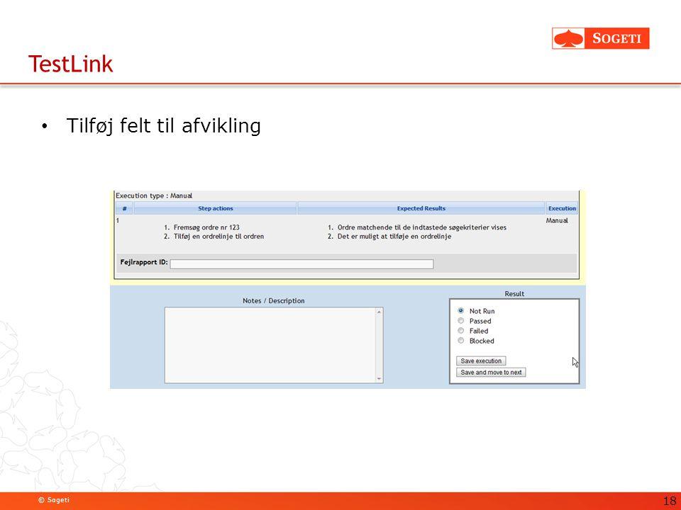 TestLink Tilføj felt til afvikling 18