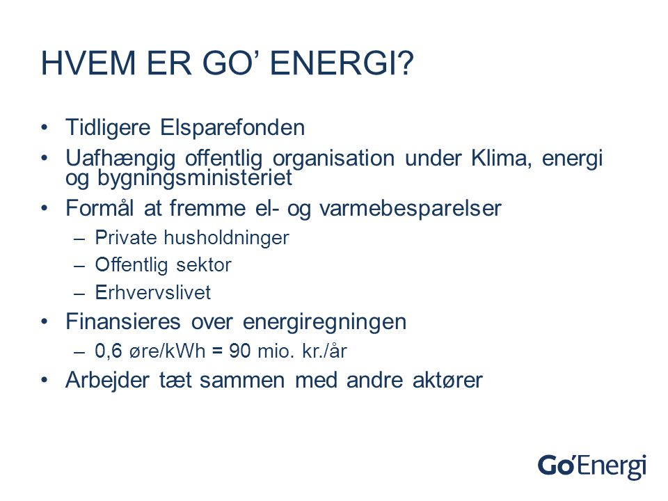 Hvem er Go' Energi Tidligere Elsparefonden