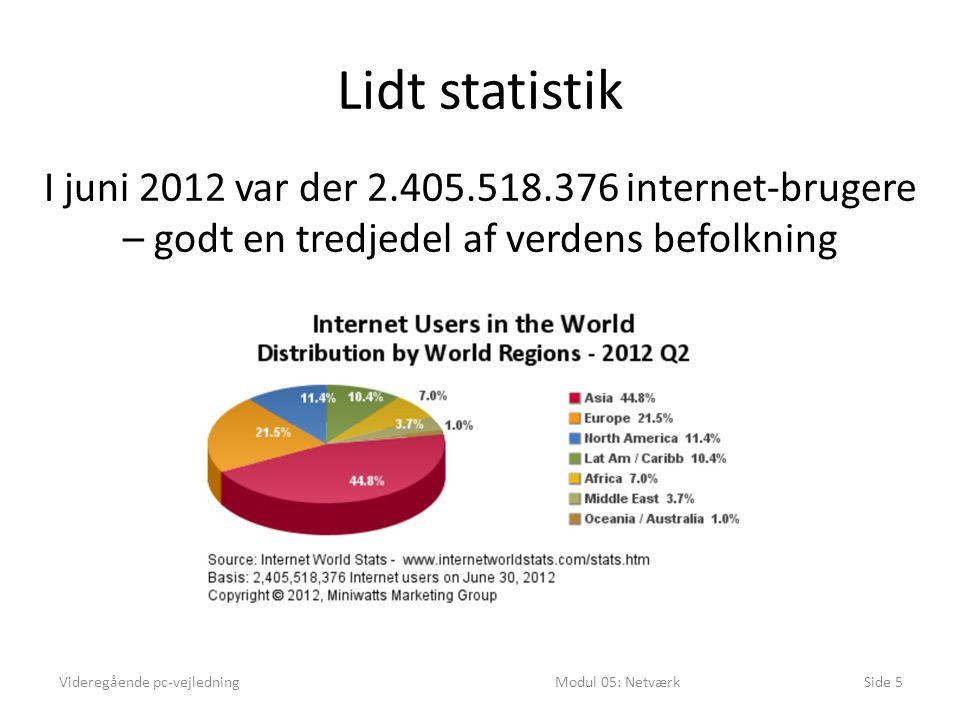 Lidt statistik I juni 2012 var der 2.405.518.376 internet-brugere – godt en tredjedel af verdens befolkning.
