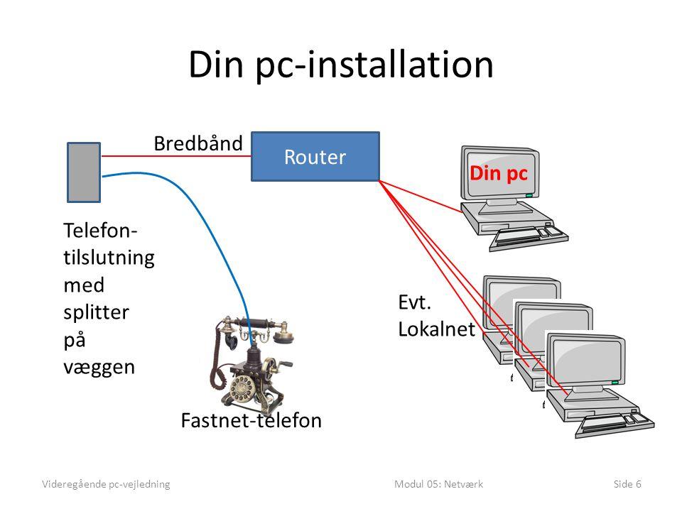 Din pc-installation Bredbånd Router Din pc Telefon- tilslutning med