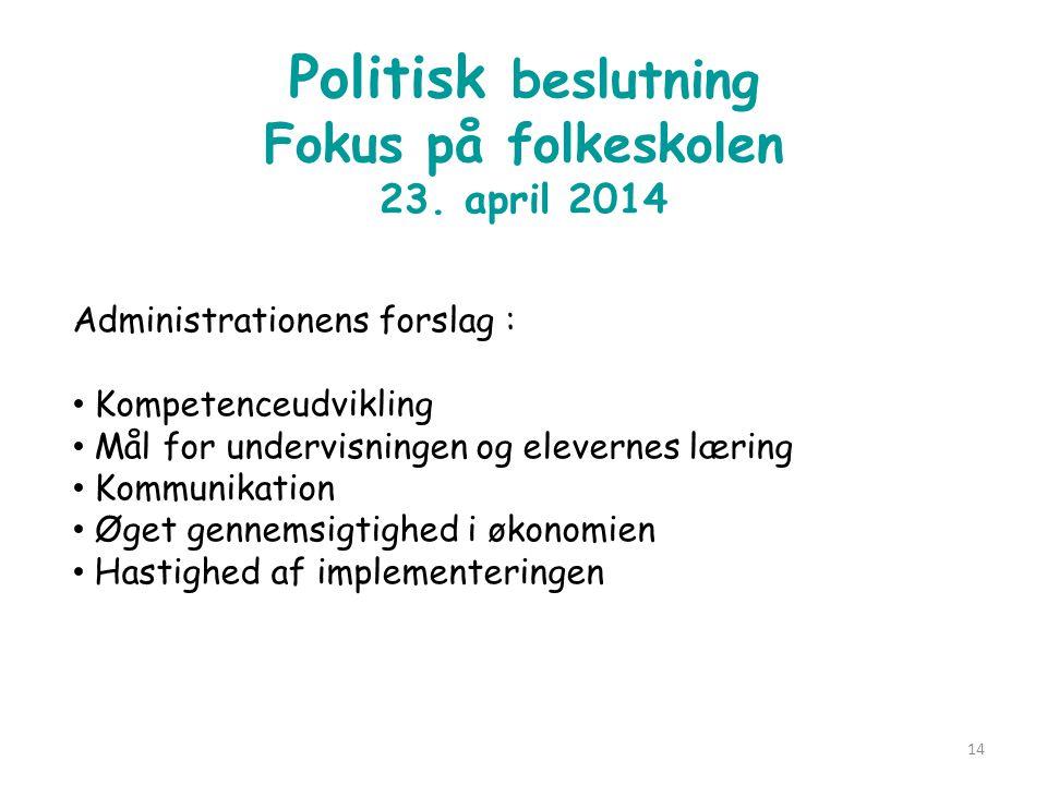 Politisk beslutning Fokus på folkeskolen 23. april 2014