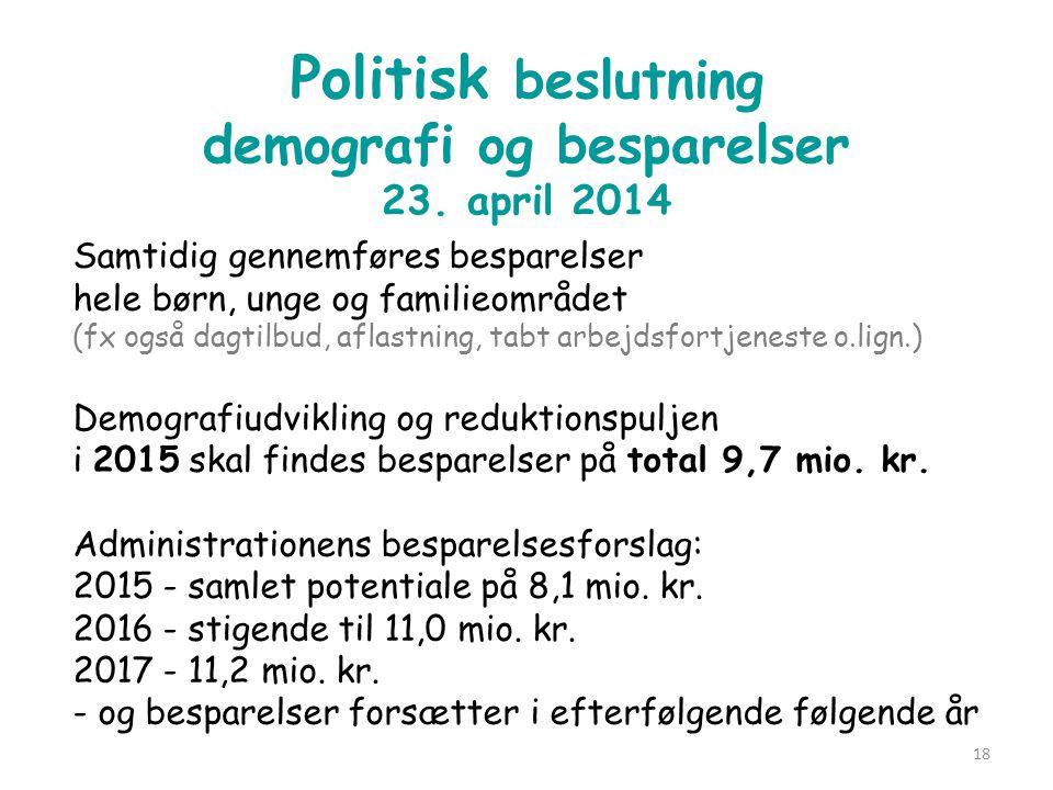 Politisk beslutning demografi og besparelser 23. april 2014