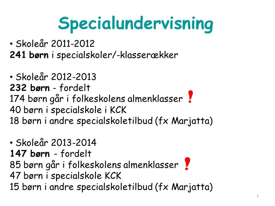 Specialundervisning Skoleår 2011-2012 241 børn i specialskoler/-klasserækker.