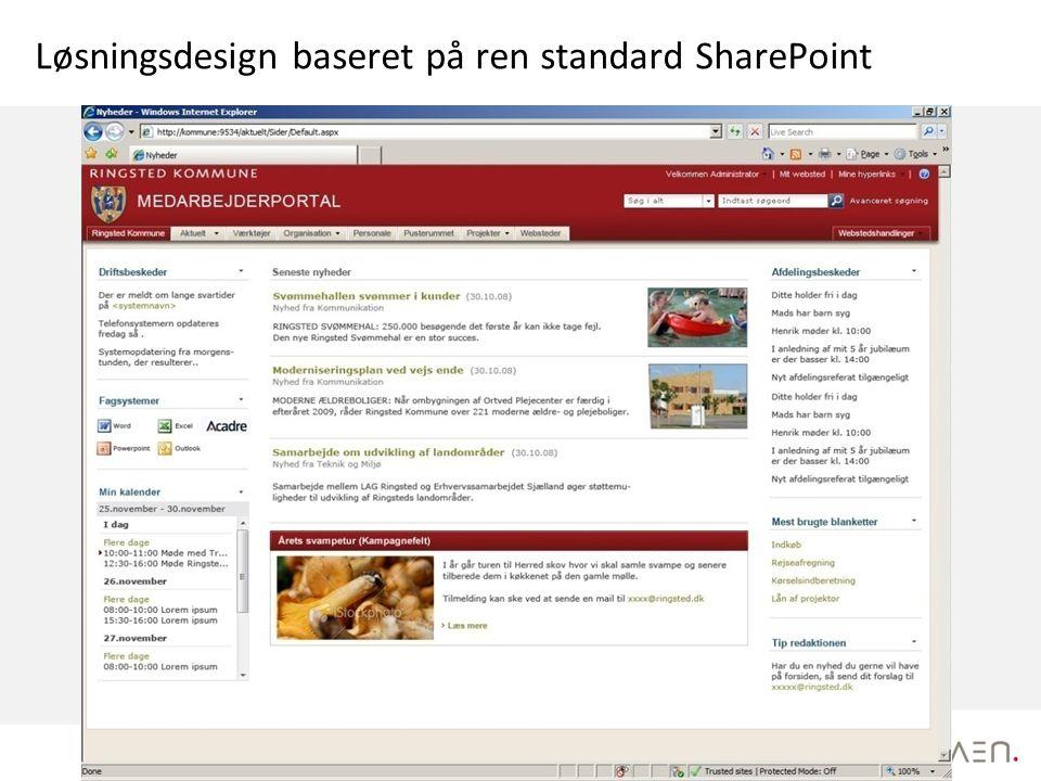 Løsningsdesign baseret på ren standard SharePoint