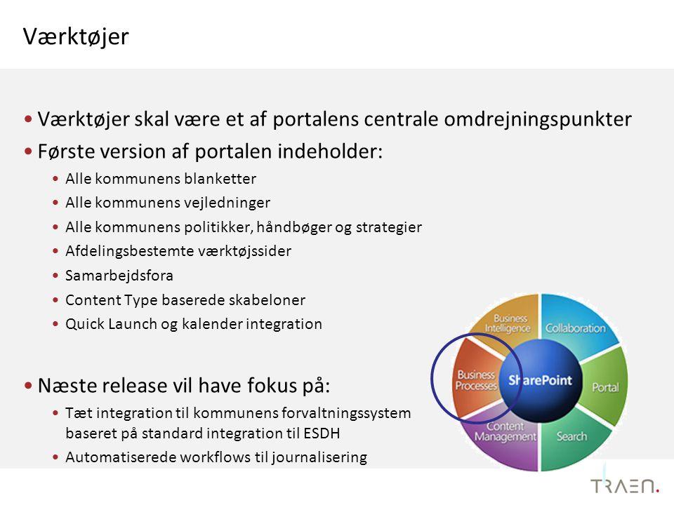 Værktøjer Værktøjer skal være et af portalens centrale omdrejningspunkter. Første version af portalen indeholder: