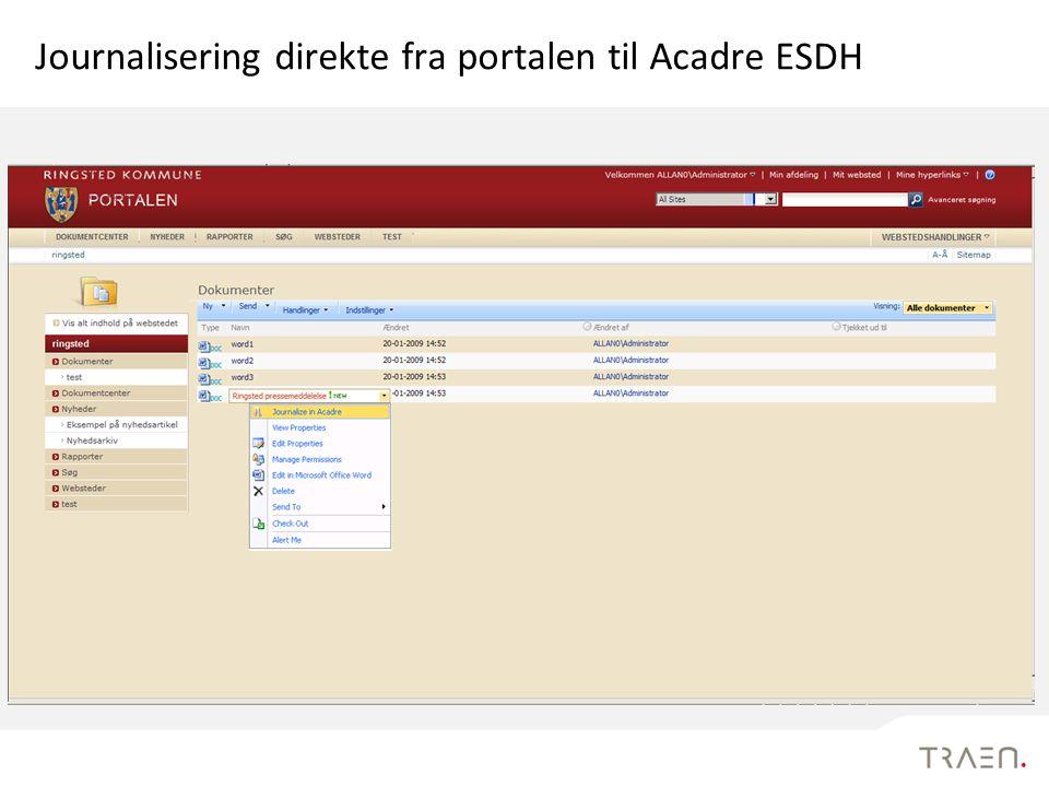 Journalisering direkte fra portalen til Acadre ESDH