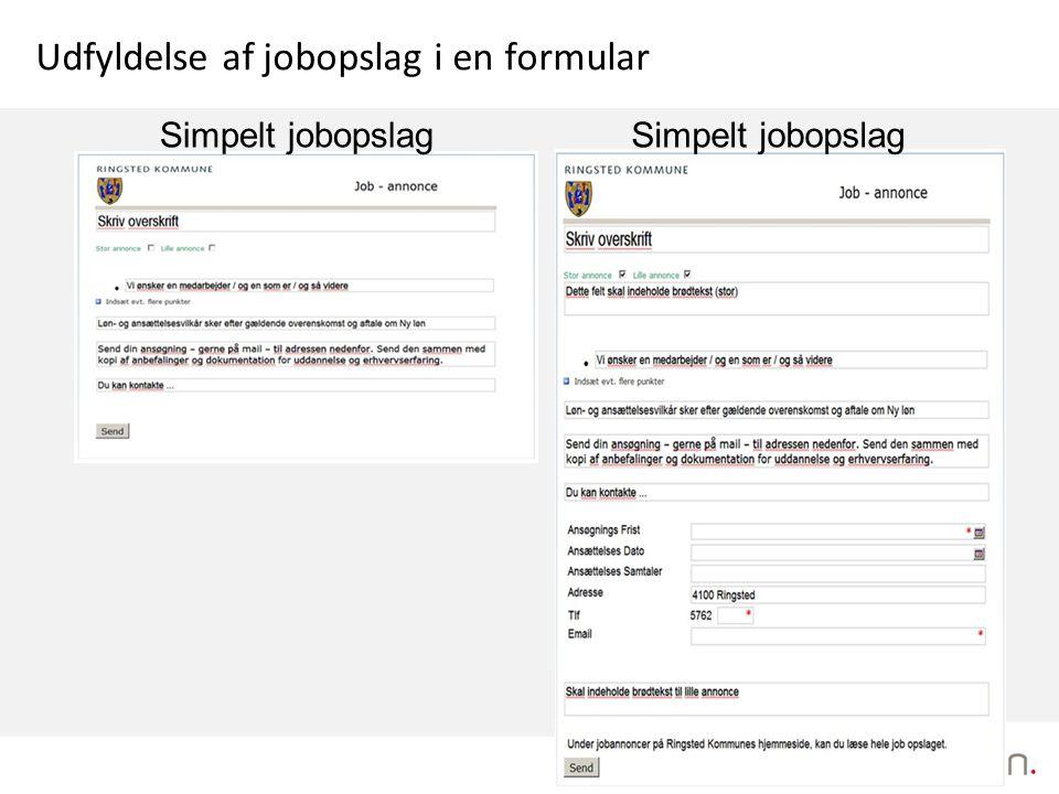 Udfyldelse af jobopslag i en formular