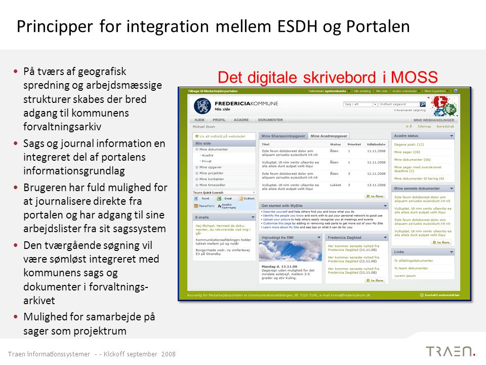 Principper for integration mellem ESDH og Portalen