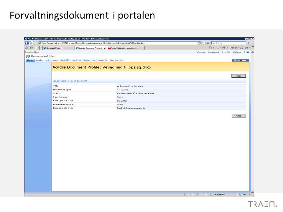 Forvaltningsdokument i portalen