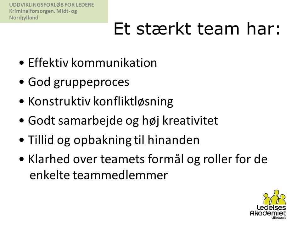 Et stærkt team har: • Effektiv kommunikation • God gruppeproces