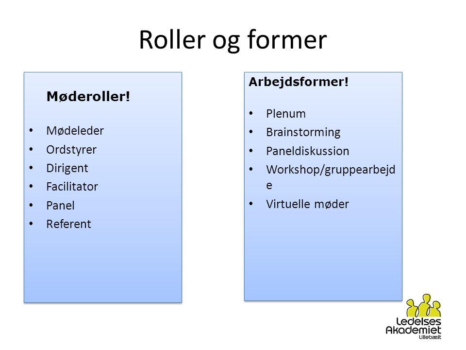 Roller og former Plenum Mødeleder Brainstorming Ordstyrer