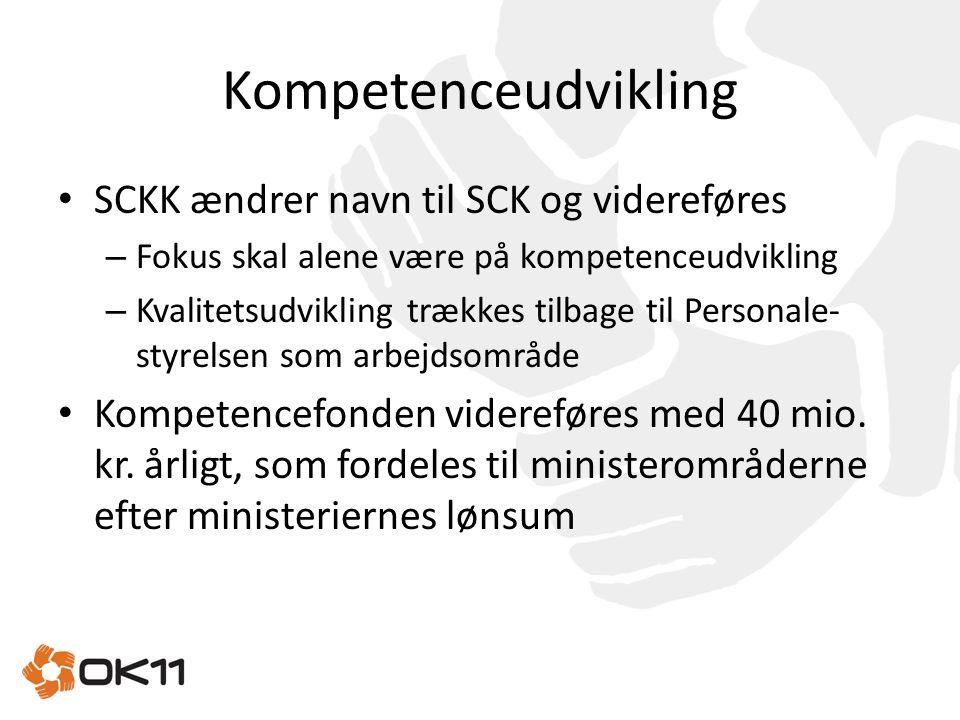 Kompetenceudvikling SCKK ændrer navn til SCK og videreføres