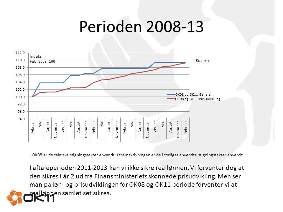 Perioden 2008-13 I OK08 er de faktiske stigningstakter anvendt. I fremskrivningen er de i forliget anvendte stigningstakter anvendt.