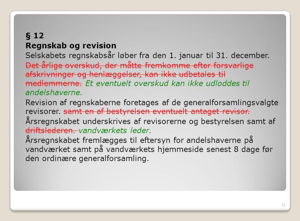 § 12 Regnskab og revision. Selskabets regnskabsår løber fra den 1. januar til 31. december.
