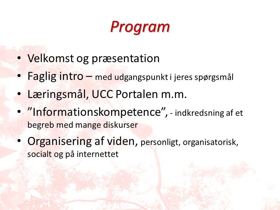 Program Velkomst og præsentation