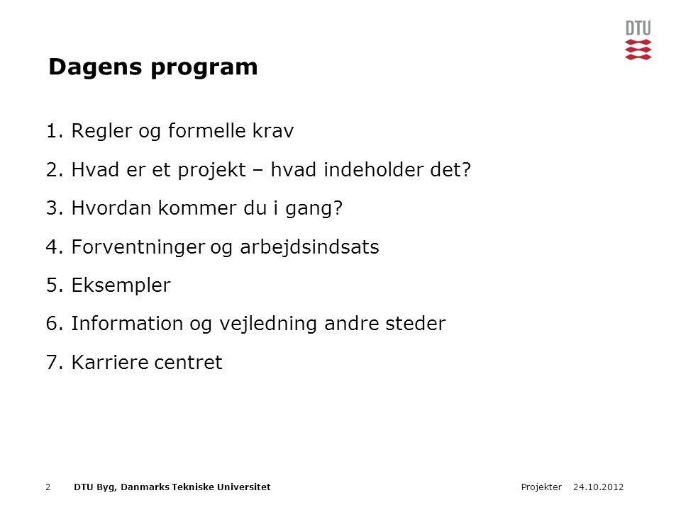 Dagens program Regler og formelle krav