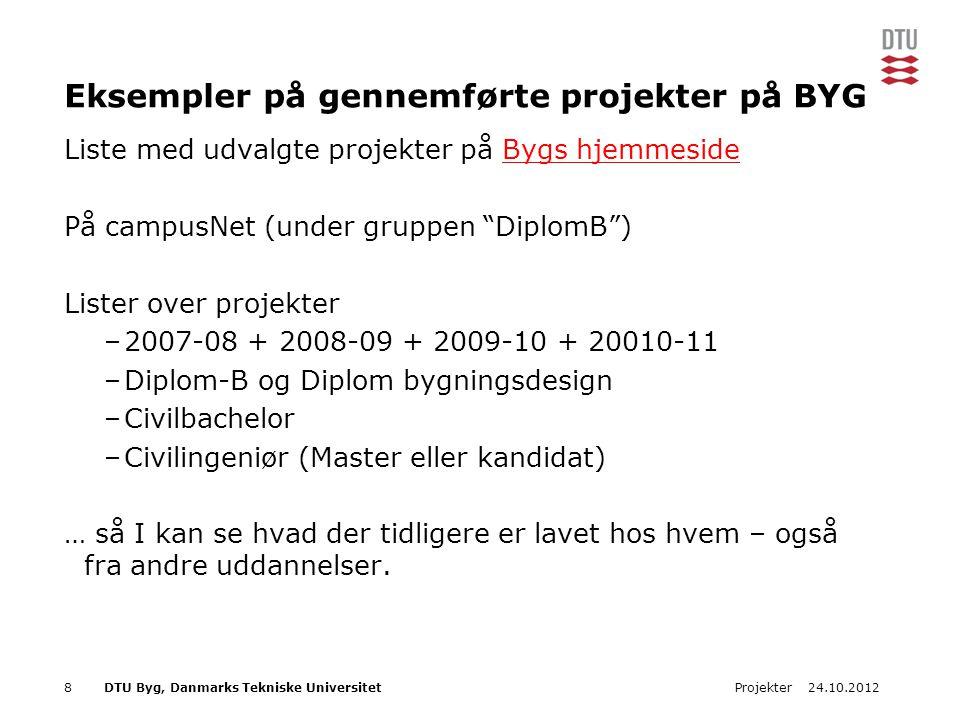 Eksempler på gennemførte projekter på BYG