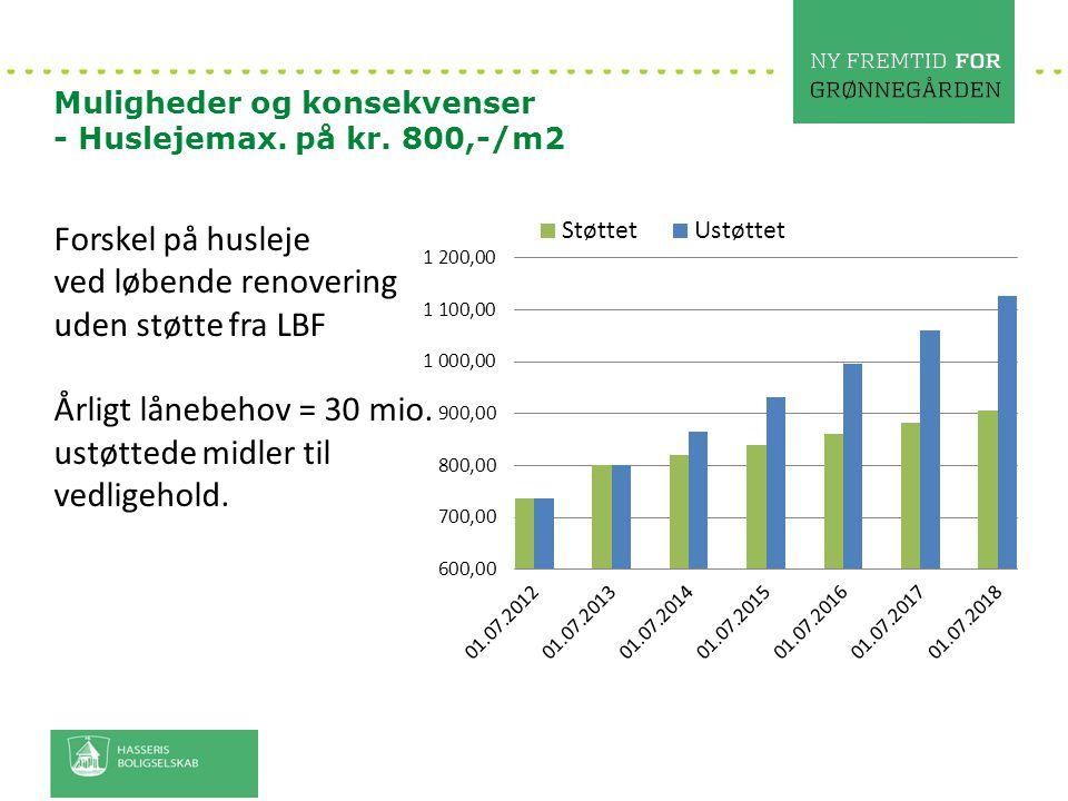 ved løbende renovering uden støtte fra LBF Årligt lånebehov = 30 mio.