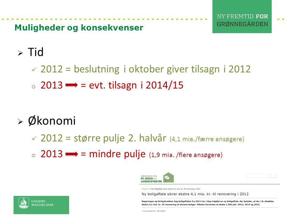 Tid Økonomi 2012 = beslutning i oktober giver tilsagn i 2012
