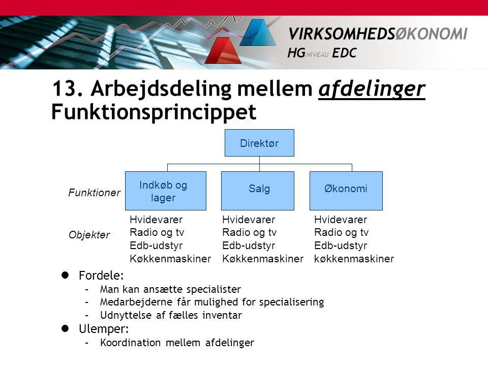 13. Arbejdsdeling mellem afdelinger Funktionsprincippet