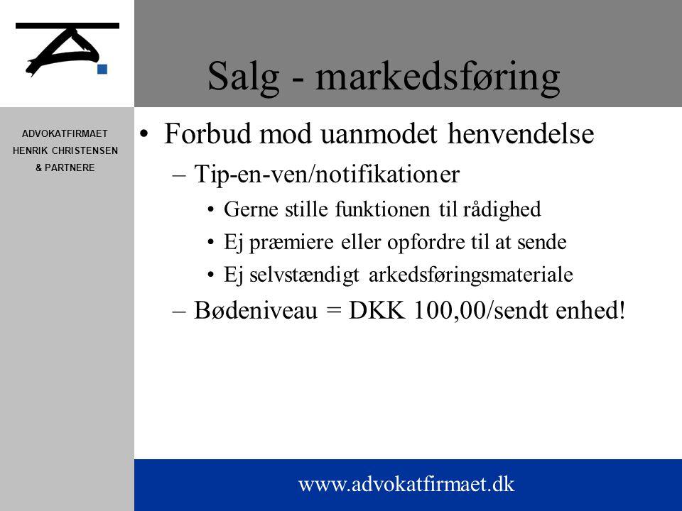 Salg - markedsføring Forbud mod uanmodet henvendelse