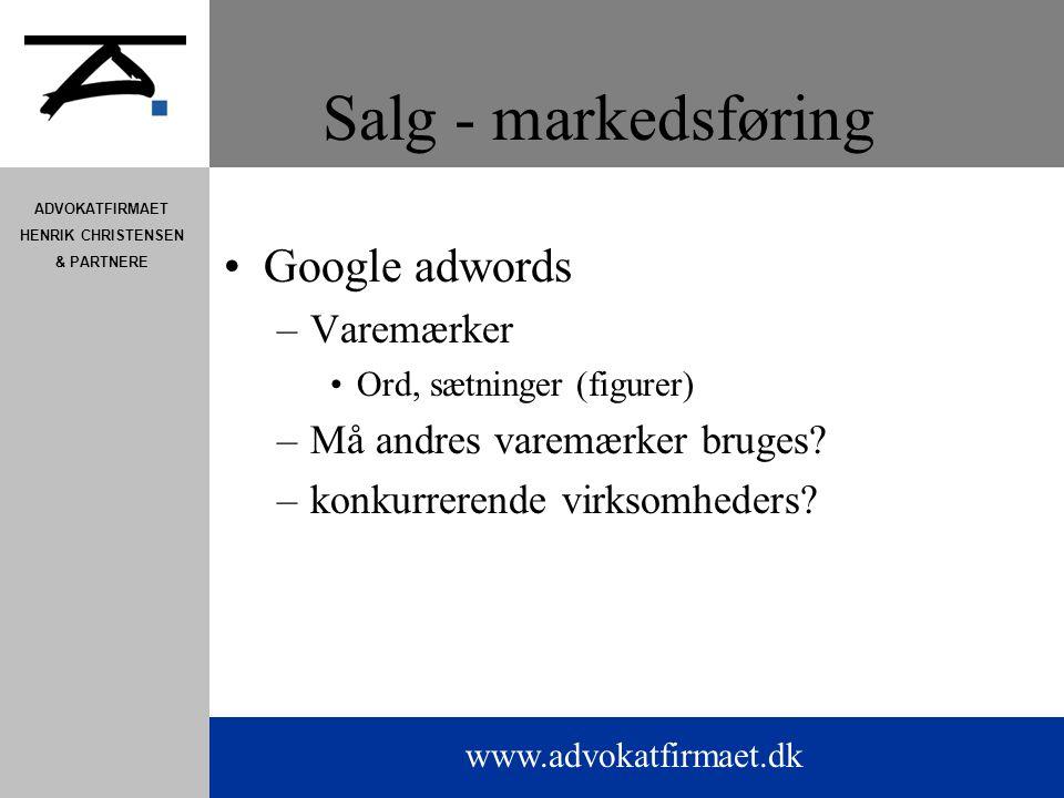 Salg - markedsføring Google adwords Varemærker