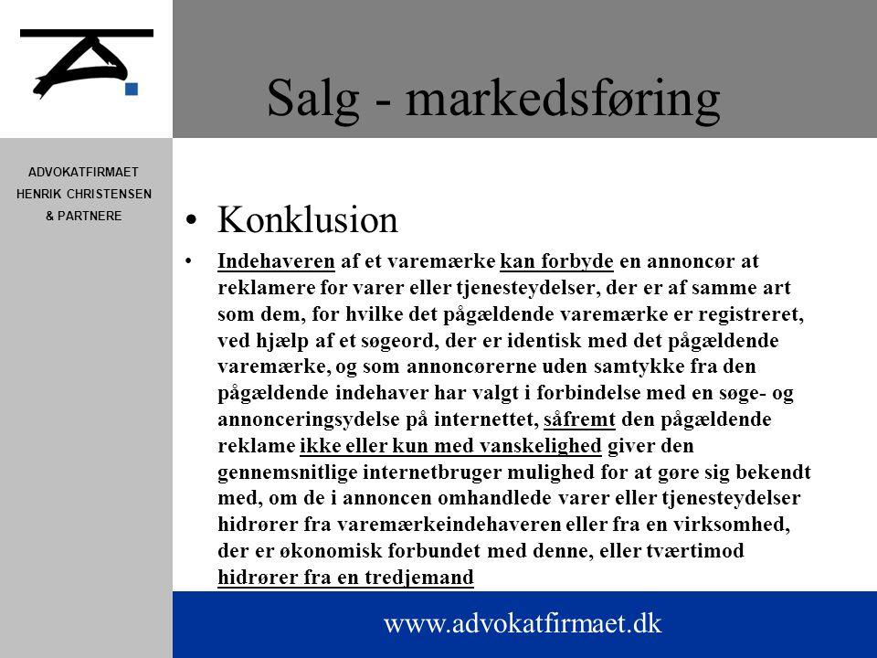 Salg - markedsføring Konklusion