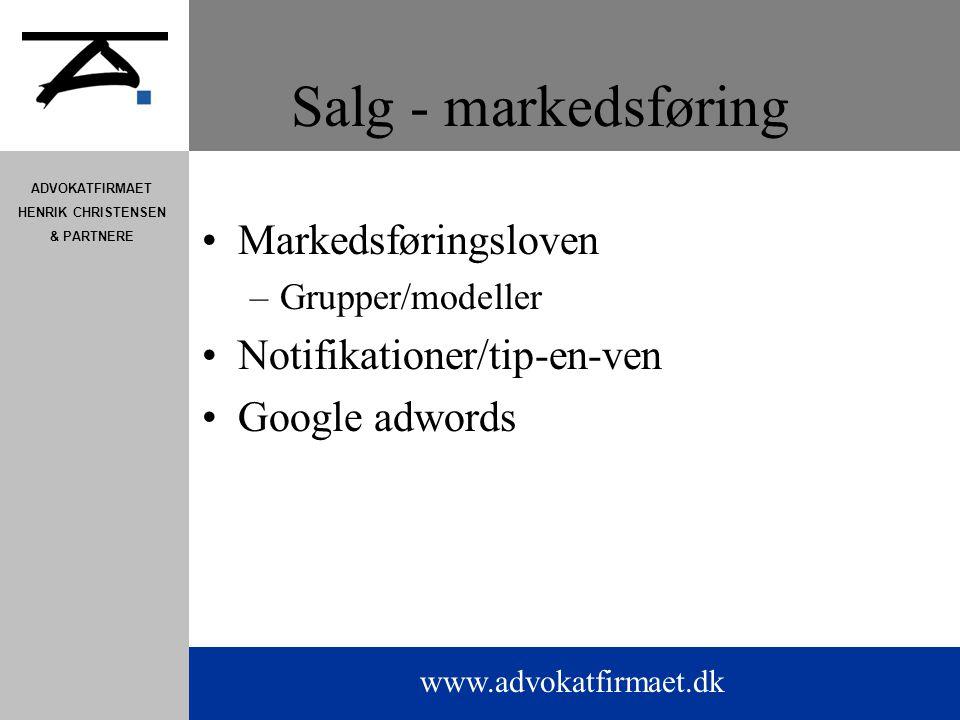 Salg - markedsføring Markedsføringsloven Notifikationer/tip-en-ven
