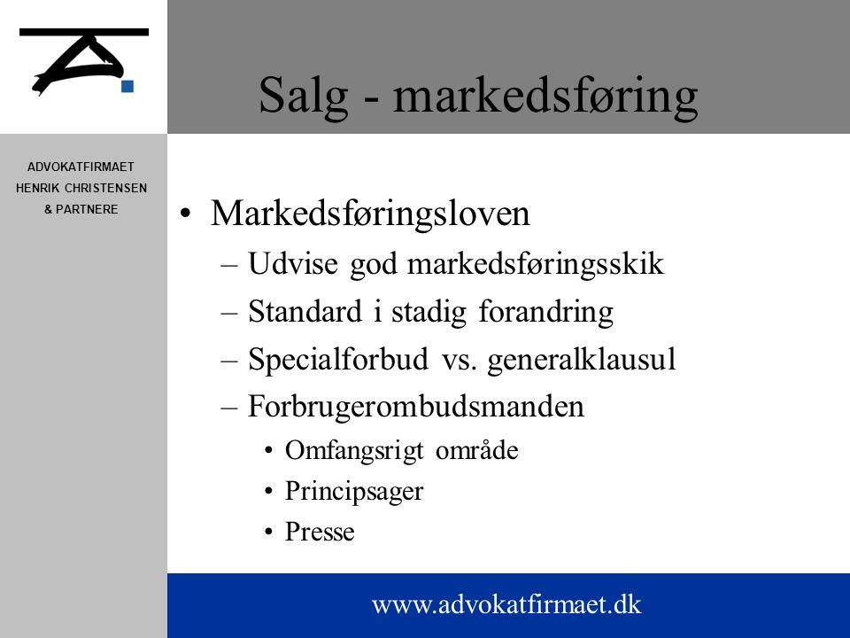 Salg - markedsføring Markedsføringsloven Udvise god markedsføringsskik