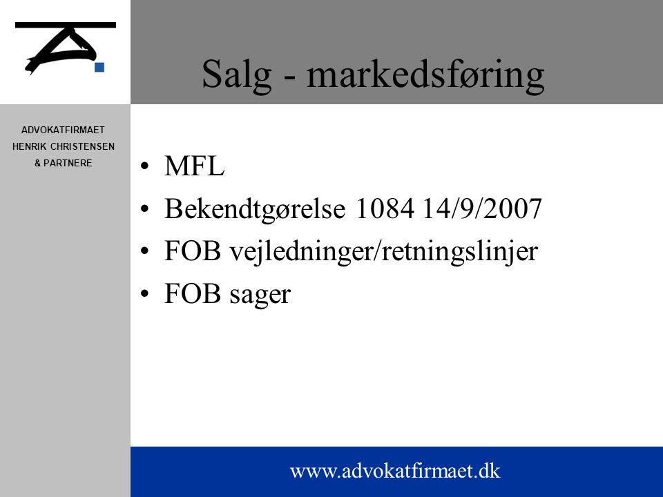 Salg - markedsføring MFL Bekendtgørelse 1084 14/9/2007
