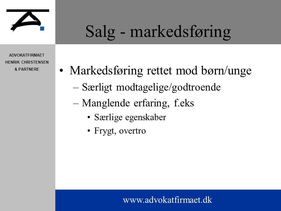 Salg - markedsføring Markedsføring rettet mod børn/unge