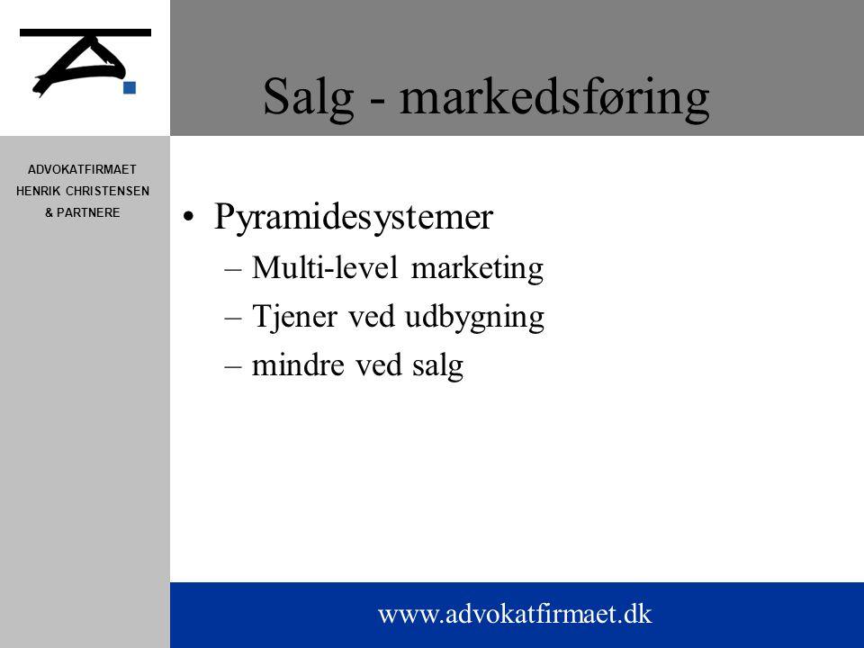 Salg - markedsføring Pyramidesystemer Multi-level marketing
