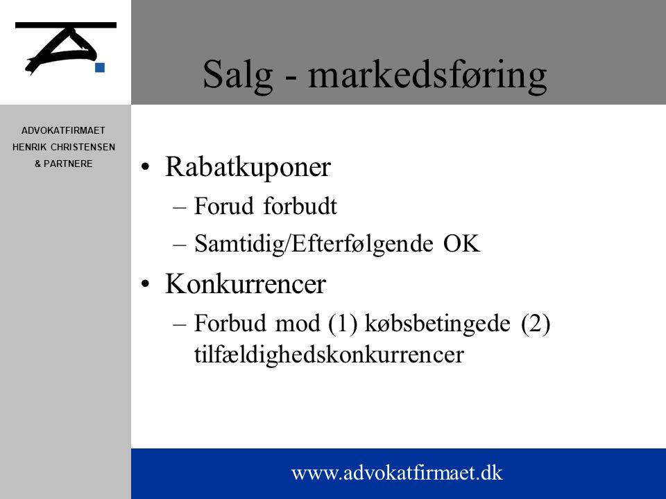 Salg - markedsføring Rabatkuponer Konkurrencer Forud forbudt