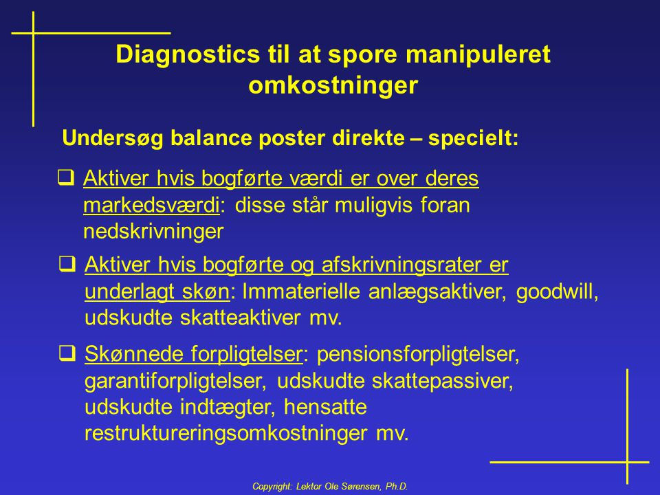 Diagnostics til at spore manipuleret omkostninger