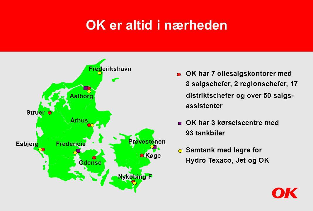 OK er altid i nærheden OK har 7 oliesalgskontorer med